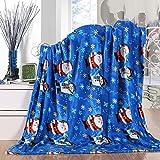 Elegant Comfort Velvet Touch Ultra Plush Christmas Holiday Printed Fleece Throw/Blanket - 50' x 60inch, (Santa Snowman)