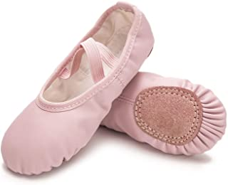 RoseMoli Ballet Shoes for Girls/Toddlers/Kids/Women, Leather Yoga Shoes/Ballet Slippers for Dancing