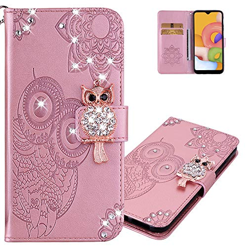 LEMAXELERS Galaxy A51 Case Owl Glitter Sparkly Gems Shockproof PU Leather Wallet Cover Flip Stand Card Slots Magnetic Silicone Bumper Folio Case for Samsung Galaxy A51 Owl Rose Gold YK