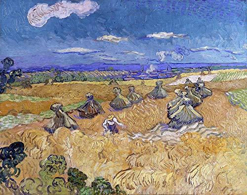 Van Gogh - Pilas Con El Segador Reproducción Cuadro sobre Lienzo Enrollado 90X70 cm - Paisaje Pinturas Impresións Decoración Muro