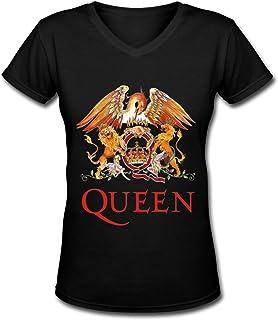 Onechamp Men's and Women's Cotton Queen Band Logo T-Shirt Black Short Sleeve