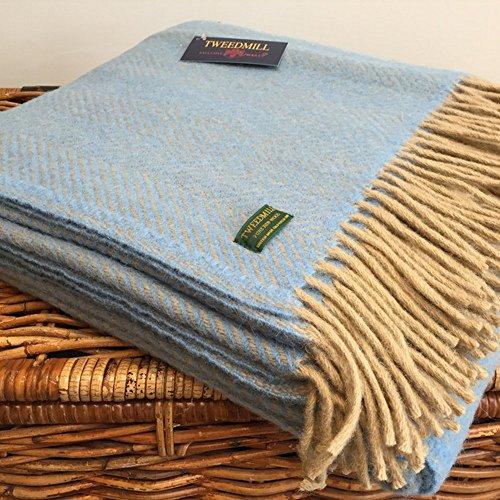Tweedmill Luxury Throw Blanket - 100% Pure New Wool - Lifestyle HERRINGBONE (BLUE & WHEAT) by Tweedmill