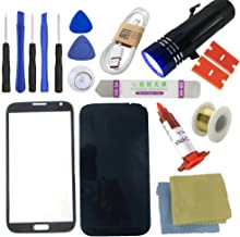 for Samsung Galaxy Note2 Screen Replacement, Sunmall Front Outer Lens Glass Screen Replacement Repair Kit LCD Glass Repair Kit for Samsung Galaxy Note2 GT-N7100 N7105 I317 I605 L900 T889 (Black)