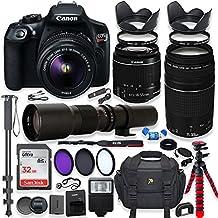 Canon EOS Rebel T6 - Cámara réflex digital (incluye lentes de 0.709-2.165in, IS II, lente Canon EF 2.953-11.811in, objetivo f/4-5.6 III y lente preestablecida de 19.685in, memoria de 32 GB, filtros, monopié y trípode de araña y paquete profesional)