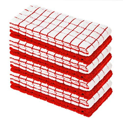 StickandShine - Confezione da 8 strofinacci in spugna, 40 x 64 cm, colore: Bianco/Rosso a quadretti