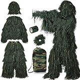 PELLOR Juego de 6 piezas de traje de camuflaje Ghillie de Tactics, ropa de caza, traje de camuflaje autoadhesivo, reutilizable, sombrero para caza, camping (verde, M/L)