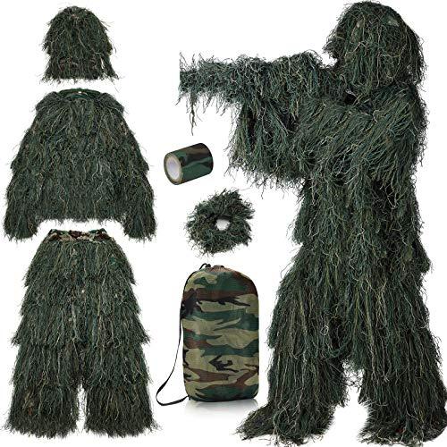 PELLOR 3D Ghillie Tarnanzug,6 Stück Set Tactics Jagdbekleidung Scharfschützenanzug,Tarnband selbsthaftend,Wiederverwendbare Wrap Camouflage,Hut für Jagd Camping (Grün, M/L)