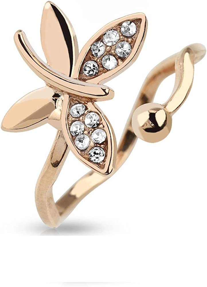 Amelia Fashion Adjustable Toe/Mid Ring Rose Gold Butterfly Multi Gem