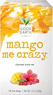 Good Earth White Tea, Mango Me Crazy, 18 Count Tea Bags (Pack of 6)