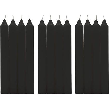 H HANSEL HOME Vela de Mesa Multiples Colores 17,5 cm (Negro, 12 Velas)