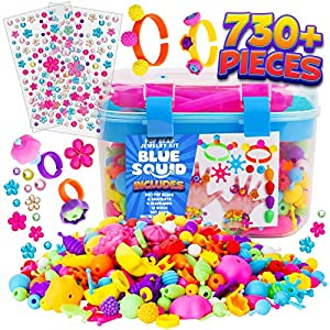 Snap Pop Beads for Girls – 730pcs Kids Jewelry Making Kit by Blue Squid, Pop-Bead Art and Craft Kit DIY Necklace…