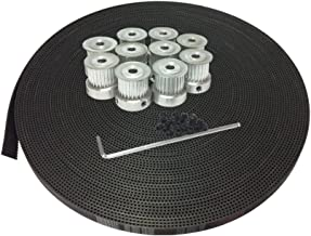 BEMONOC 10Meters 3M Rubber Open Ended Belt Width 15mm for Laser Engraving CNC Machines & HTD 3M Timing Pulley 25 Teeth 6mm 8mm 12mm Bore for Stepper Servo Motor Pack of 10pcs