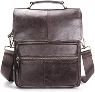 Genuine Handbag,Leather Handbag,Men Messenger Crossbody,Shoulder Travel Handbag,Dark Coffee
