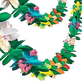 FUTUREPLUSX Paper Garland Decorations, 2PCS Hibiscus Garland Tissue Flower Banner Tropical Paper Flowers Luau Party Decora...