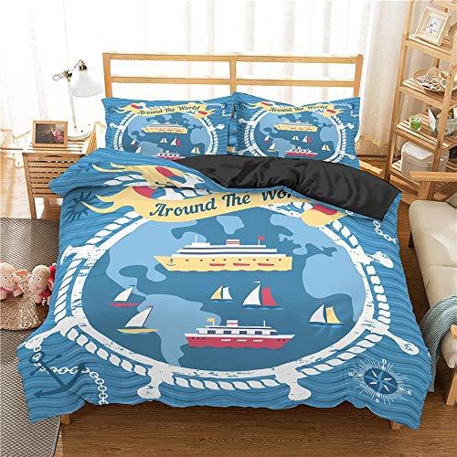 Print Bedding Double, Nautical Ocean Bettwäsche Set Adventurer Bettwäsche Schädel Bettbezug Trösterbezug Set Bettbezug und 1/2 Kissenbezug Bett Set, Einzel- / Doppelbettbezug und Kissenbezug,