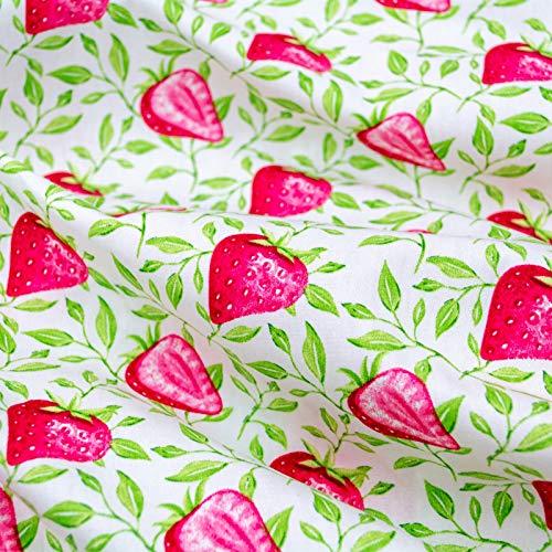 Emily&Joe's fabrics 100% Baumwolle Popeline (Kochfest) Stoff Meterware weiß Erdbeeren Beeren, 50x142cm pro Stück