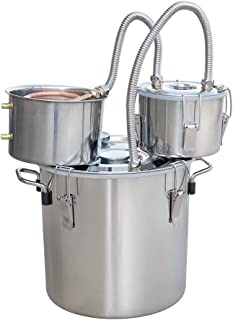ECO-WORTHY 5 Gallon 18L Alcohol Distiller 304 Stainless steel Home Moonshine Water Distiller Wine Making Kit Home Brewing Kit with Thumper Keg