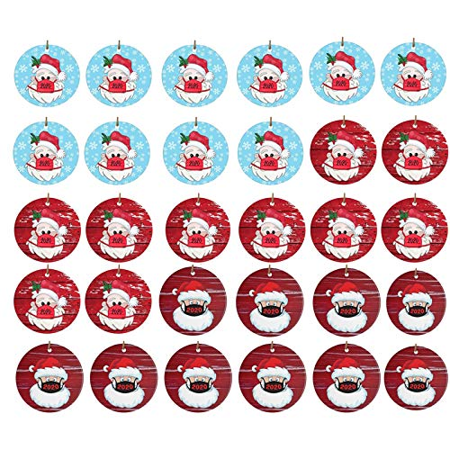 Moent 30PC Christmas Pendant, 2020 Christmas Santa Claus Wearing A Face Covering Xmas tree Decorations