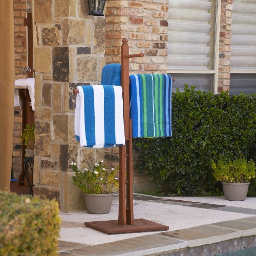 """Mission Towel Rack 54"""" - 4 Rungs for Hanging - Dark Brown Oiled Finish"""