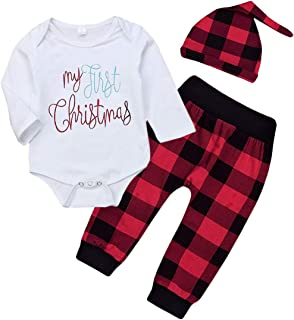 Christmas 3Pcs Outfit Set Baby Girls Boys My First Christmas Rompers Plaid Pants Outfits Sets