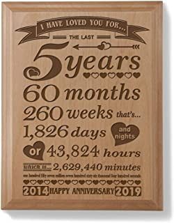 Kate Posh - 5th Anniversary Engraved Natural Wood Plaque (5 Years & 60 Months) - 2014 (Marriage Year) and 2019 (5th Anniversary Year), 5th Wedding for Her, for Him, for Couple