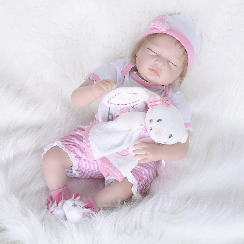 JHGFRT Reborn Babypuppe Silikonsimulation Kinderpuzzle Frühe Bildung Spielzeug Geschenk Augen Geschlossen 55 cm,55cm