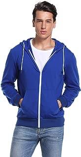 Kuulee Men's Casual Fit Long Sleeve Lightweight Zip Up Pullover Hoodie Sweatshirt with Kanga Pocket
