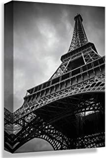 Black White Eiffel Tower in Paris, Design Pick by Winifred, Canvas Wrap - 24x36 inches