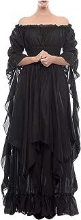NSPSTT Womens Renaissance Medieval Costume Gypsy Long Sleeve Dress Top and Skirt
