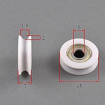 Los rodamientos de bolas flexibles de nylon de los rodillos de bolitas 4pcs 5 * 24 * 7m m U acanalan el rodillo para los muebles: Amazon.es: Bricolaje y herramientas