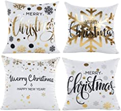 Wiwaplex Christmas Pillow Covers 4 PCS, Gold Stamping Snowflakes Merry Christmas Decorative Throw Pillow Case Cushion 18x1...