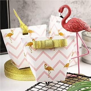 Better-way 50pcs Tropical Hobo Handbags Design Flamingo Candy Boxes Comedy Wedding Favor Gift Box Party Wedding Favors Candy Box with Golden Ribbons (Flamingo)