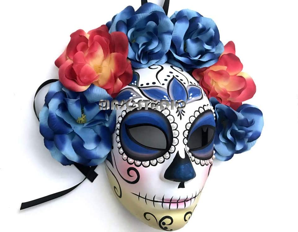 Blue Masquerade full face mask flower feather mini hat day of the dead deco and wearable mask