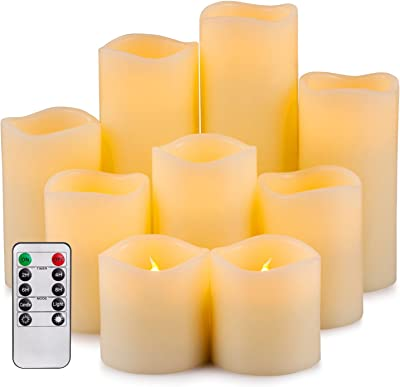"""Yutime Large Flameless Candle Set of 9 (D 3"""" x H 3"""" 4"""" 5"""" 6"""" 7"""" 8"""") Battery Operated LED Pillar Real Wax Candles with Remote Control Timer"""