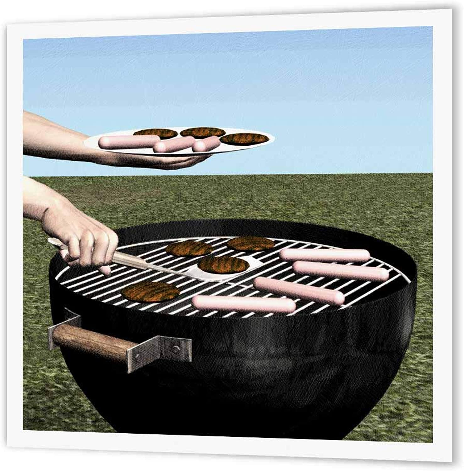 3dpink ht_62959_2 Barbeque Serving Hamburgers and Hotdogs Iron on Heat Heat Heat Transfer for White Material, 6 by 6Inch e83369