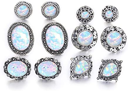 VWH Women 6 Pairs Crystal Stone Stud Earrings Set Simple Jewelry for Girls