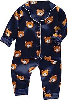 Shusuen Pajamas Little Kid Sleepwears Set Pajama Clothes Long Sleeve Cartoon Print