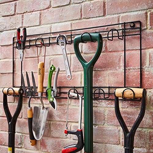 Direct Online Houseware Two Tier Tool Rack 11 Hook Wall Mounted Hanger in Black Powder Coating