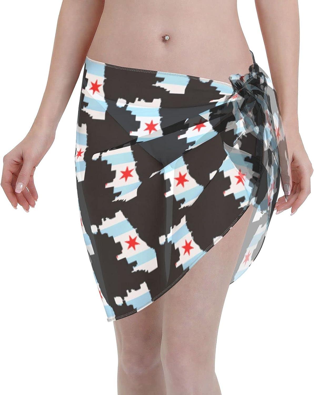 Flag Map of Chicago Women Short Sarongs Beach Wrap Swimsuit Cover Ups Sheer Short Skirt Bikini Chiffon Scarf Black