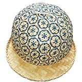 Coralpearl Bamboo Woven Food Dome Lid Cover to Keep out Flies Bugs and Table Serving Tray Storage Plate Platter with Handles for Picnic Party Bread Cake Pizza Dry Fruit Dessert Indoor Outdoor (Blue)