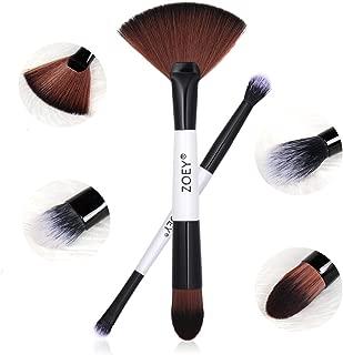 NEW Double Ended Makeup Brushes Makeup Brush Double Sided Professional Makeup Brush Set Foundation Brush Eye Shadow Brush Smudge Brush Vegan Brush Cruelty Free(White Handle,2 Pcs)