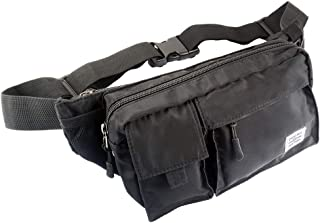 Travel Fanny Pack Black Waist Bag for Men and Women Bum Hip Bag for Running Outdoor Vacation Hiking Workout, Durable Nylon Material, Adjustable Band