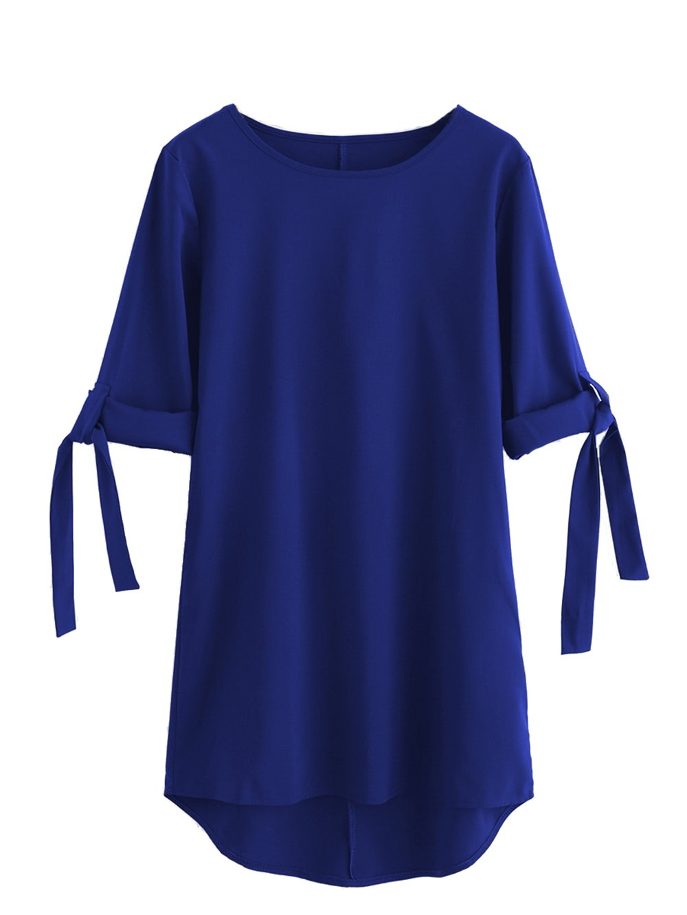 Available at Amazon: Milumia Women's Rolled Sleeve Tie Dip Hem Shift Dress Medium Royal Blue