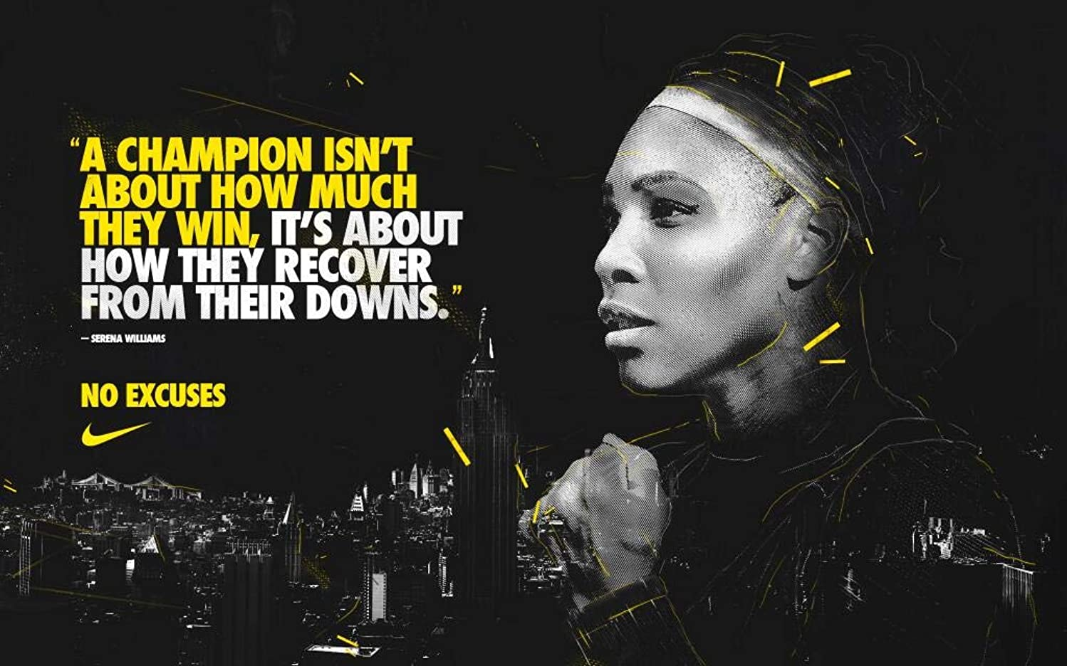 United Mart Poster Serena Williams Quotes Tennis Player Album Cover Poster Size 12 x 18 Inch Rolled Poster