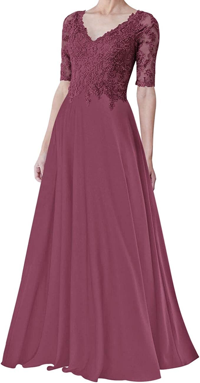 Mother of The Bride Dress Lace Formal Evening Gowns Half Sleeves Chiffon Evening Dresses V Neck