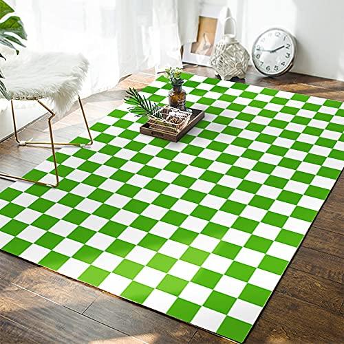 Tapis Damier Marocain Chambre Salon Moderne Minimaliste Vert Plaid Plaid Tapis De Sol Porche Couverture Table Basse Couverture