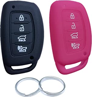5 Buttons RUNZUIE 2Pcs Silicone Remote Smart Key Fob Cover Shell Compatible with 2020 Hyundai Sonata TQ8-F08-4F27 95440-L1060 Black Hot Pink