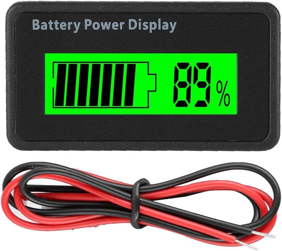 Battery Capacity Meter, 12-48V Universal LCD Digital Battery Capacity Indicator Battery Power Display Waterproof Battery Capacity Tester Voltmeter for Battery or Battery Device.(Green Light)