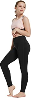 Youth Girl's Athletic Dance Leggings Compression Pants Running Active Yoga Tights with Back Pocket