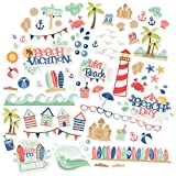 Paper Die Cuts - Life's a Beach - Over 60 Cardstock Scrapbook Die Cuts - by Miss Kate Cuttables
